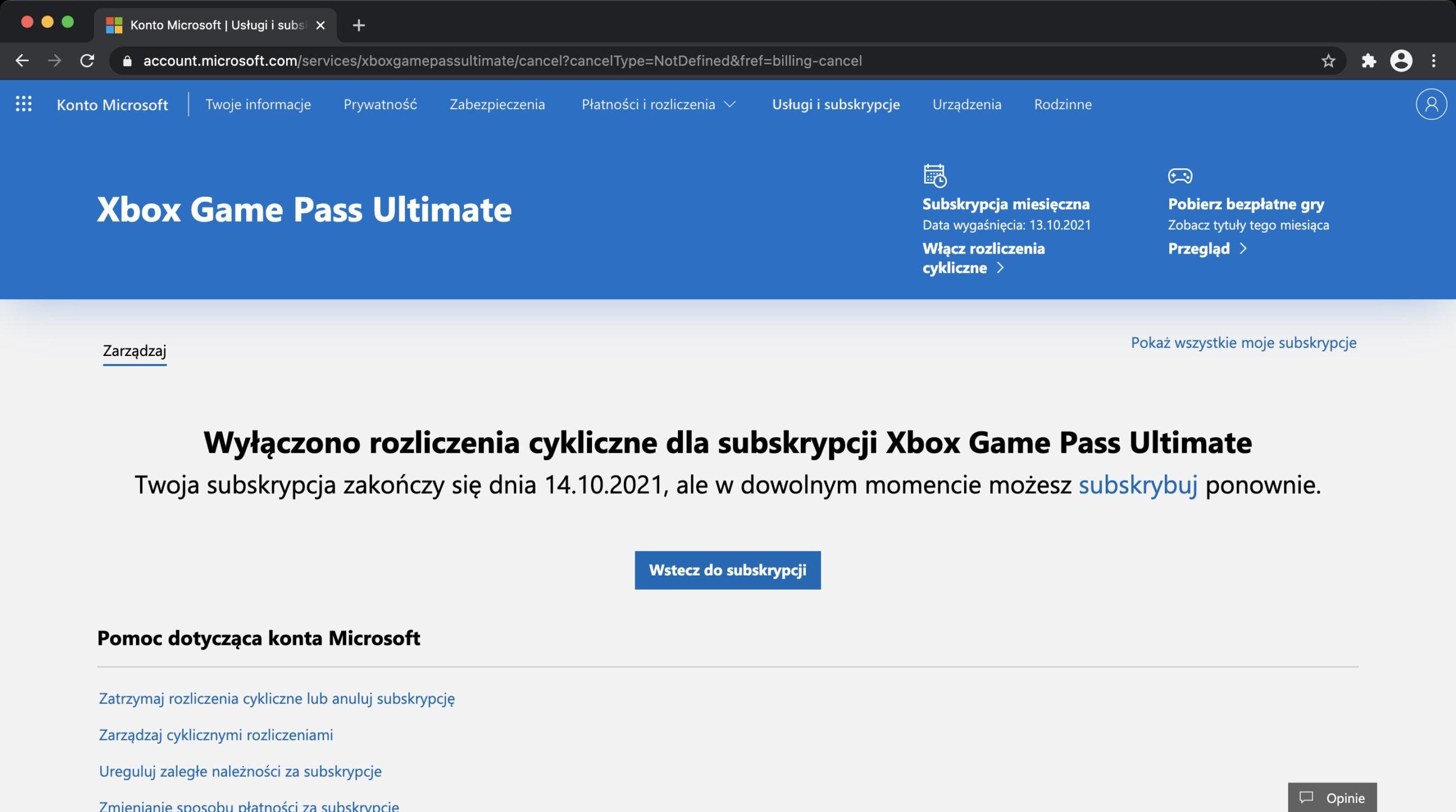 Jak anulować subskrypcję Xbox Game Pass