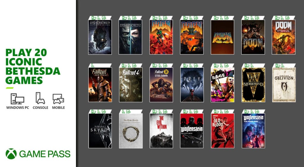 20 gier Bethesdy w Xbox Game Pass
