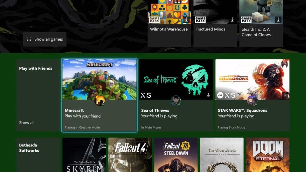 """Xbox Game Pass sekcja """"graj ze znajomymi"""""""