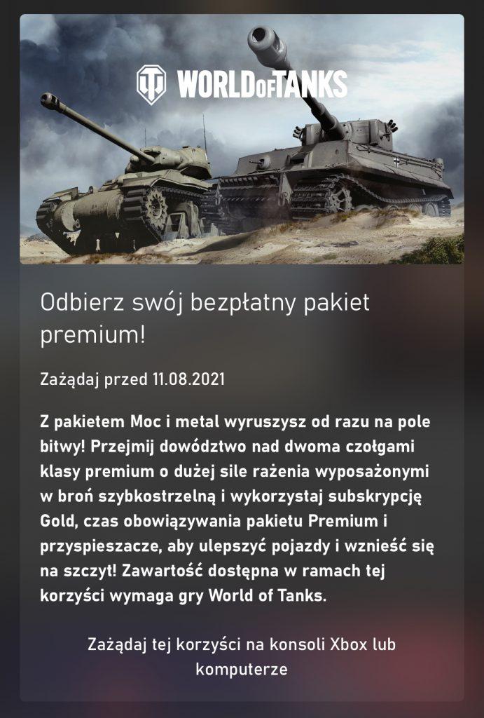Pakiet World of Tanks – Moc i metal za darmo dla subskrybentów Xbox Game Pass Ultimate