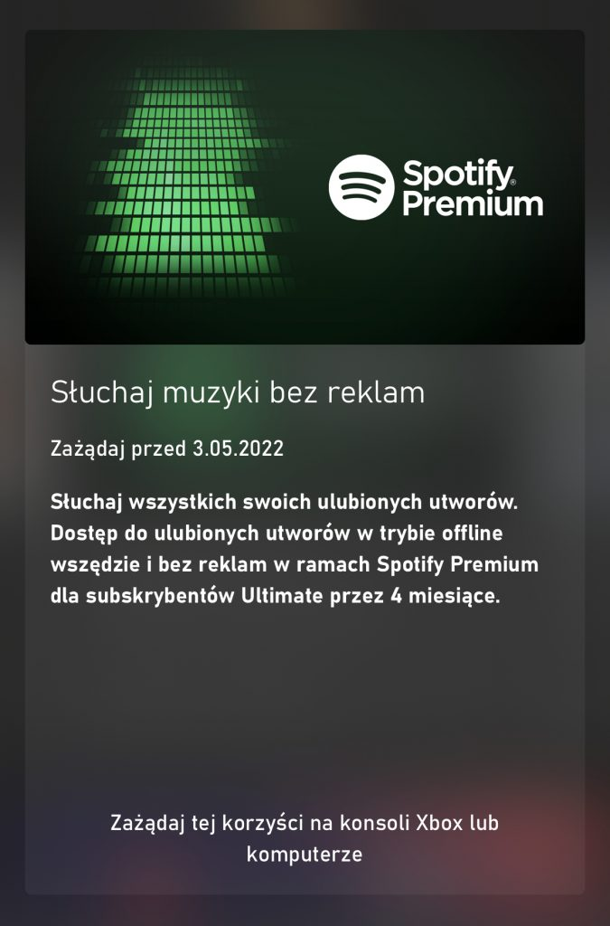 Xbox game Pass Ultimate Spotify Premium 4 miesiące za darmo