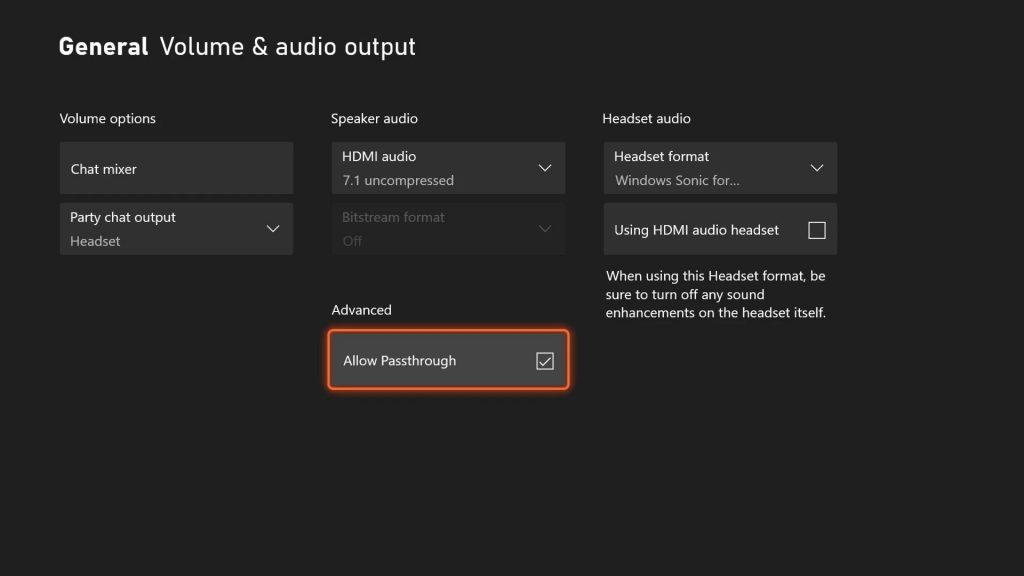Xbox Passthrough Audio