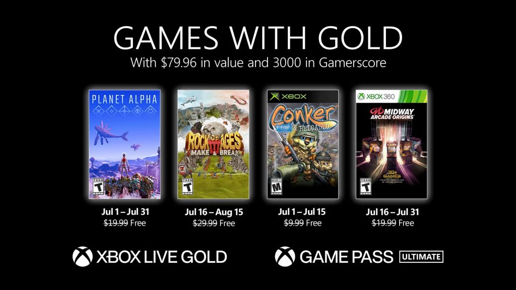 Games with Gold lipiec 2021