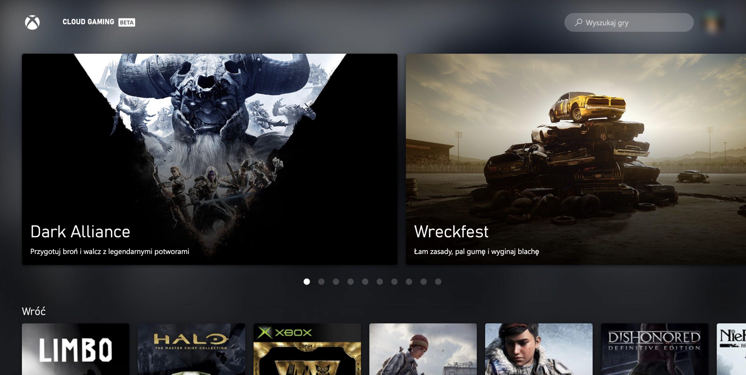 Xbox Cloud Gaming w przeglądarce na komputerze