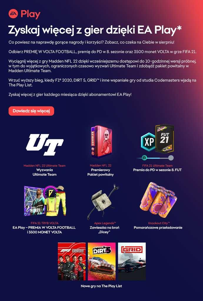 Nowe gry EA Play - GRID, DiRT 5, F1 2020