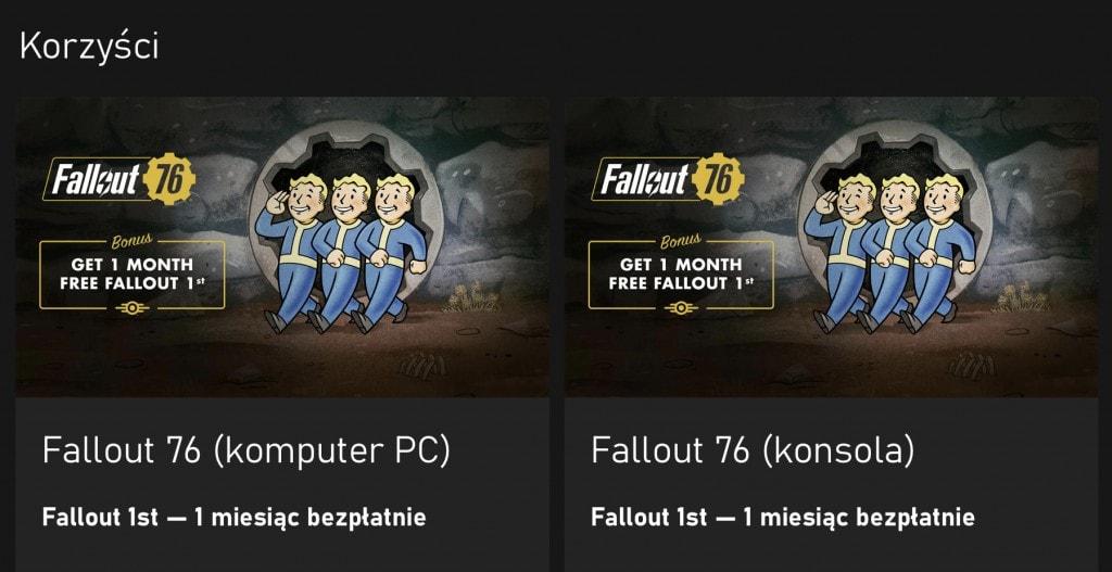 Xbox Game Pass Ultimate Fallout 1st za darmo korzyść